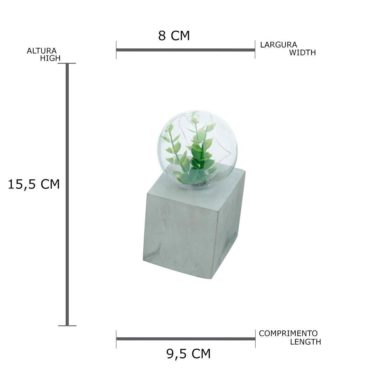 Luminária Led com Planta e Base de Concreto Quadrada