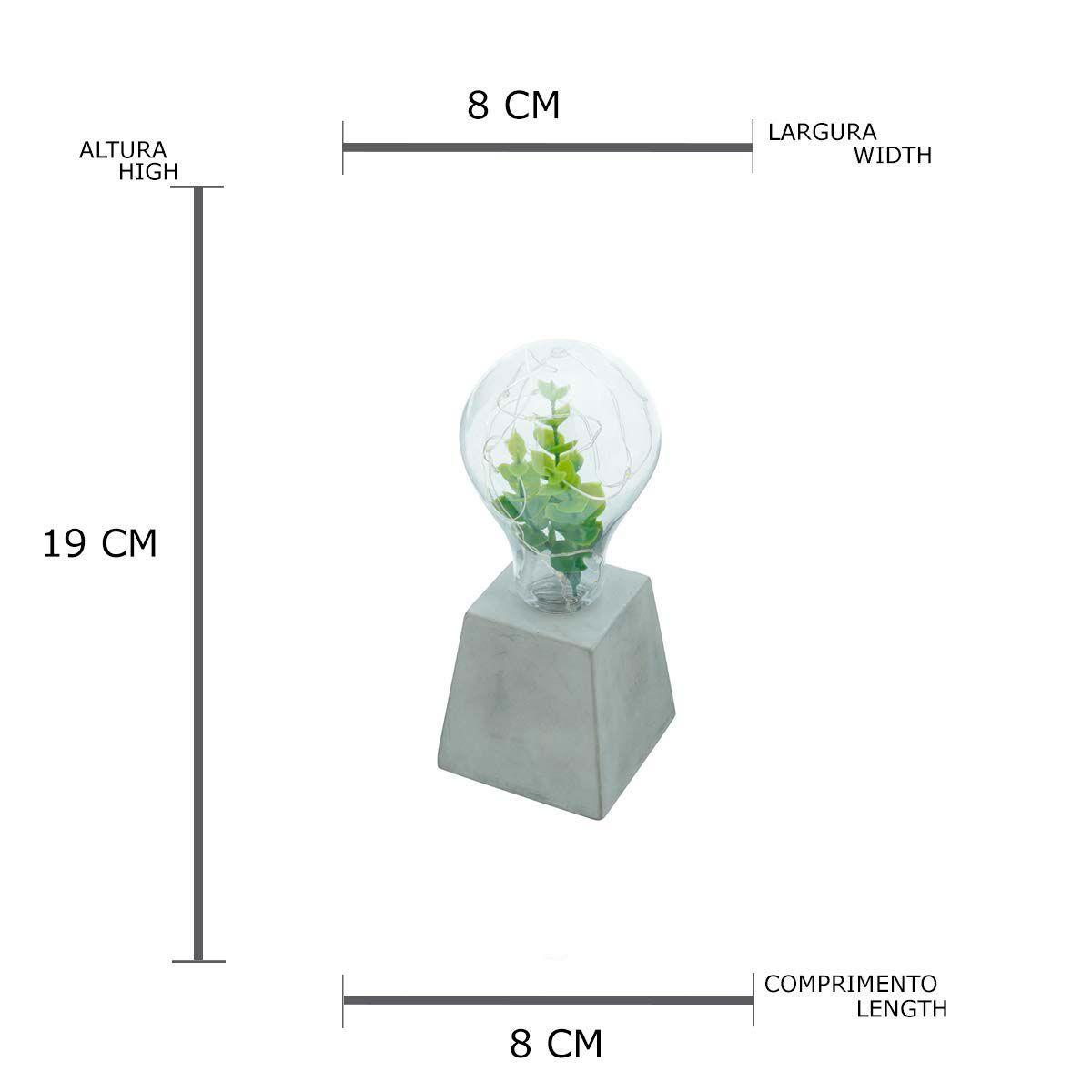 Luminária Led Lâmpada com Planta e Base de Concreto Trapezio