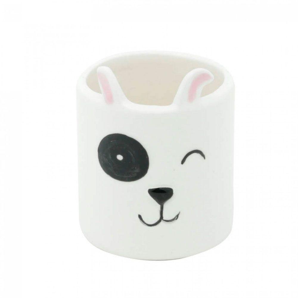 Mini Cachepot Vaso Decor Dog Face Branco Cachorrinho