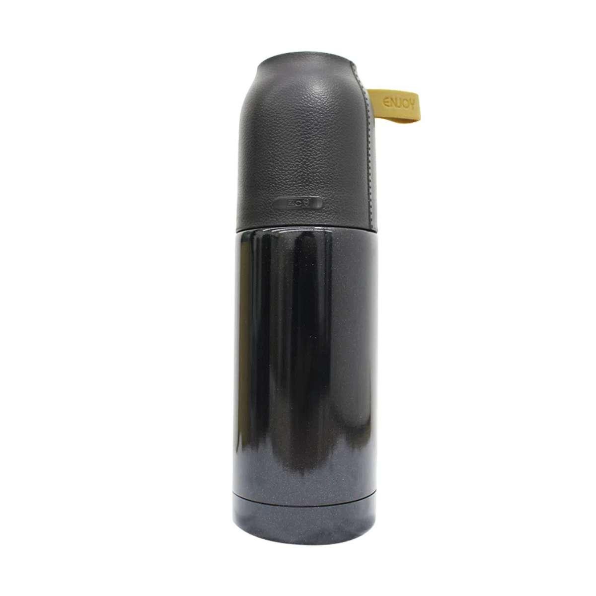 Mini Garrafa Térmica com Tampa de Couro 350 ml Acreditar
