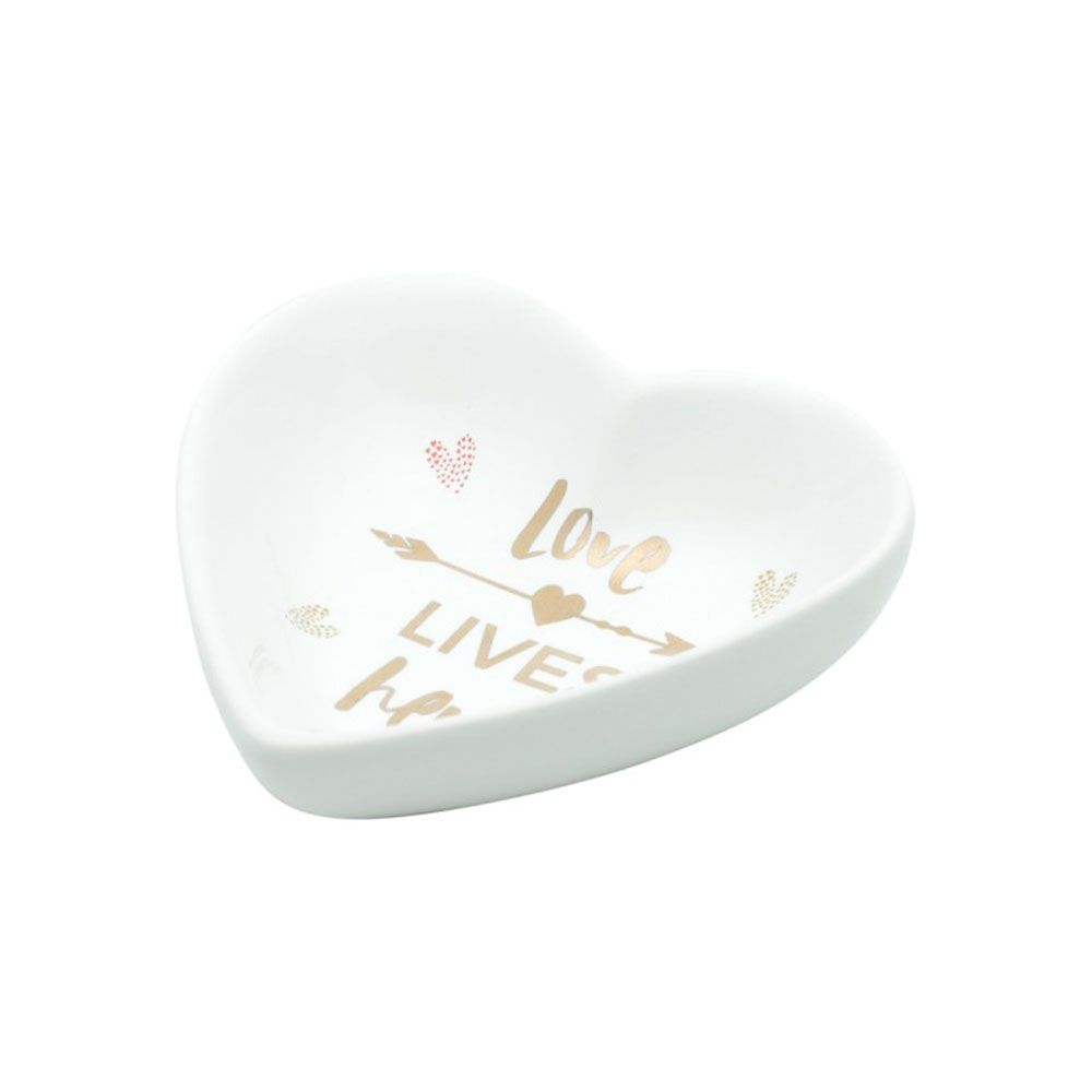 Mini Prato Decor Porta Jóias Coração Cerâmica - Love