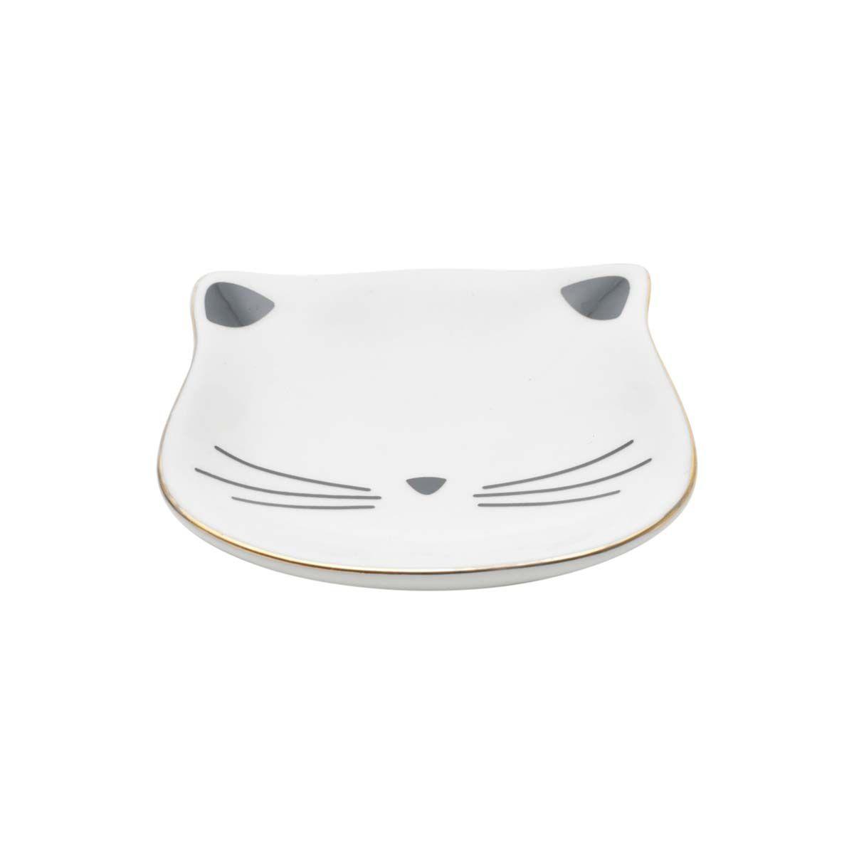 Mini Prato Decorativo Porta Anéis e Acessórios Cat Face