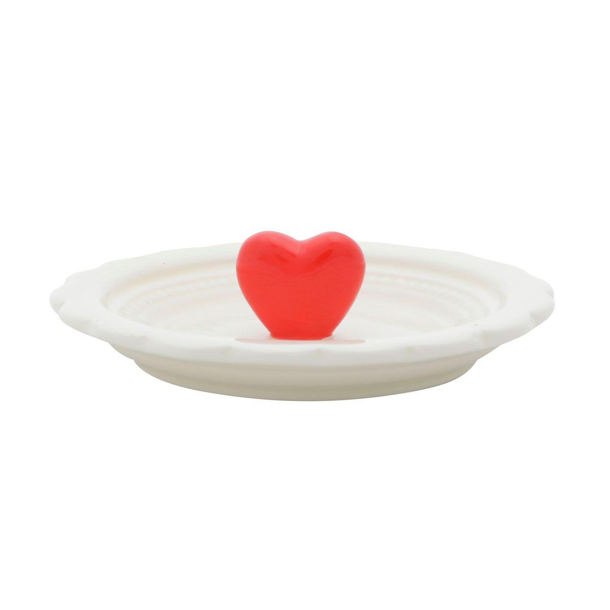 Mini Prato Decorativo Porta Anéis e Acessórios Coração Vermelho