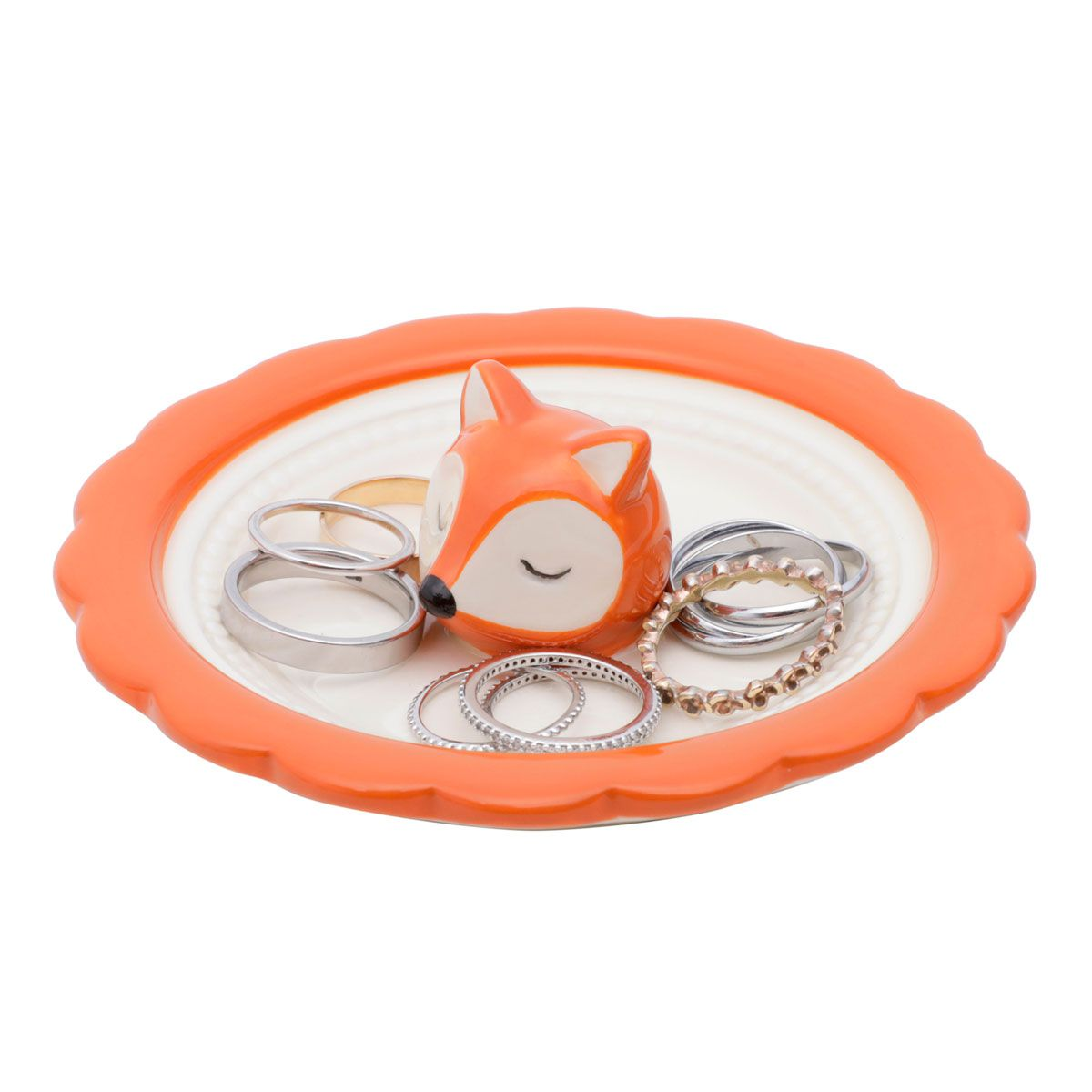 Mini Prato Decorativo Porta Anéis e Acessórios Raposa Face Laranja