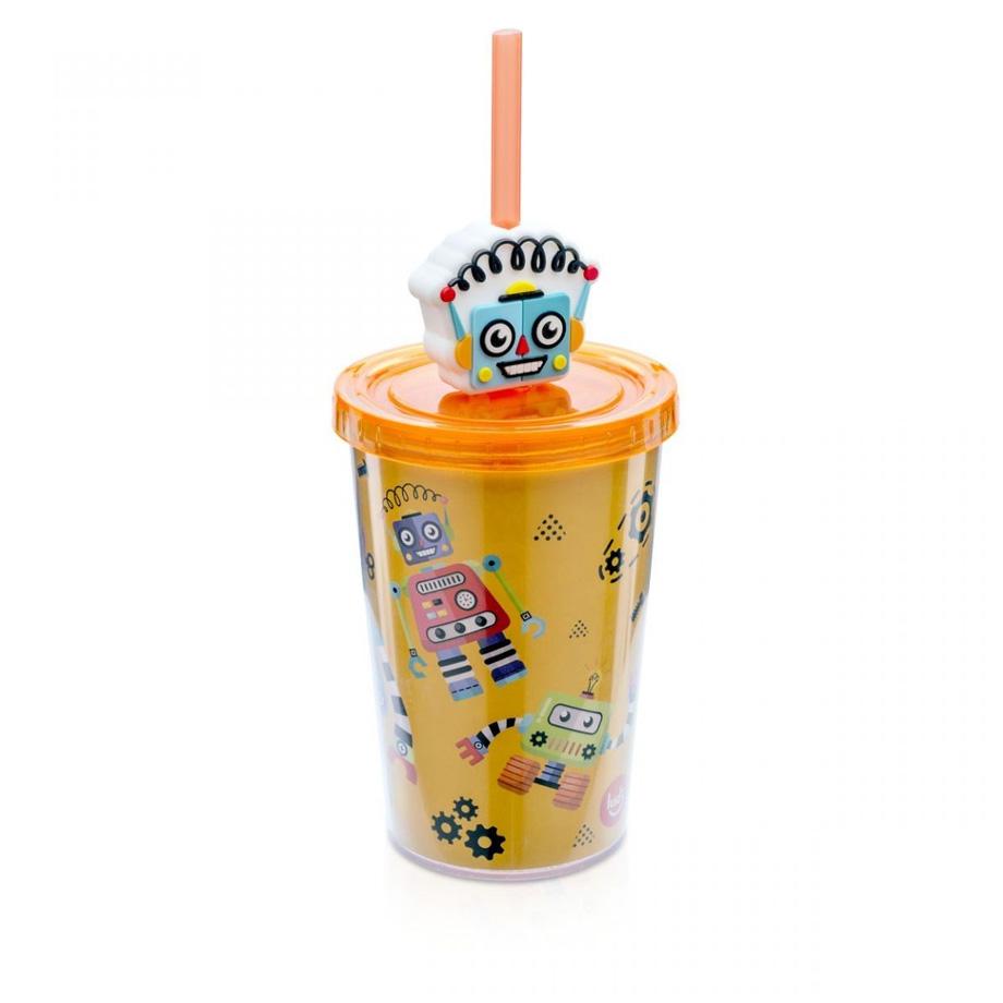 Mini Copo Canudo com Pingente Robo