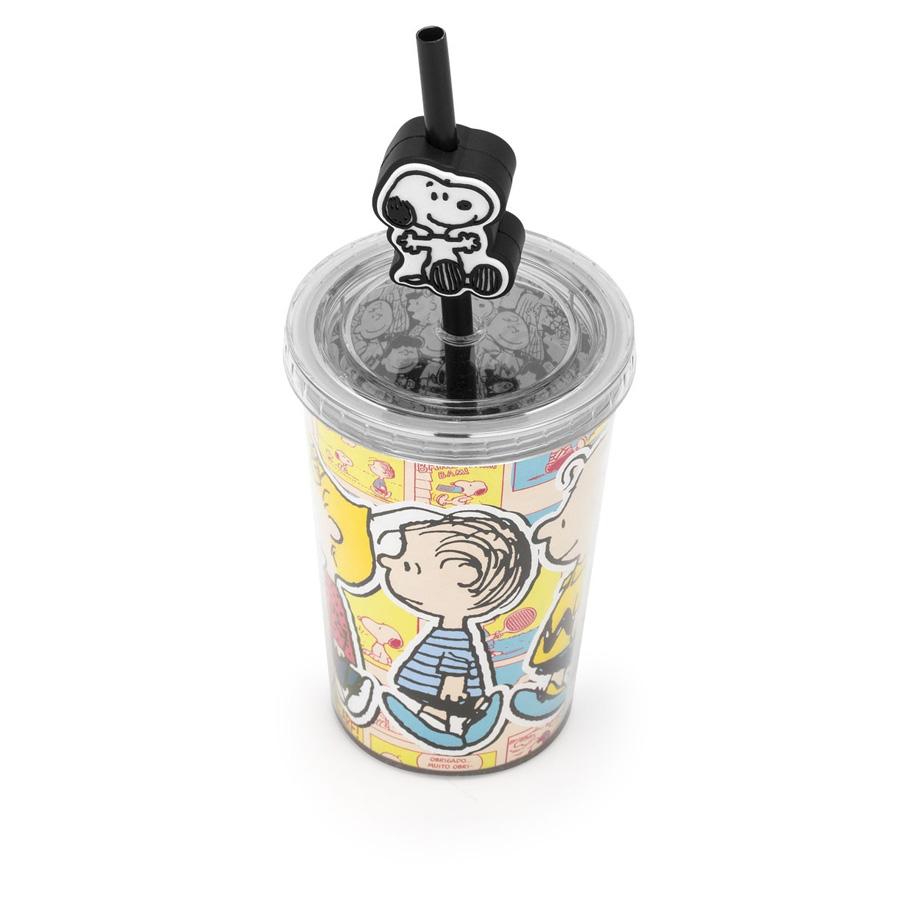 Mini Copo Canudo com Pingente Snoopy Comics