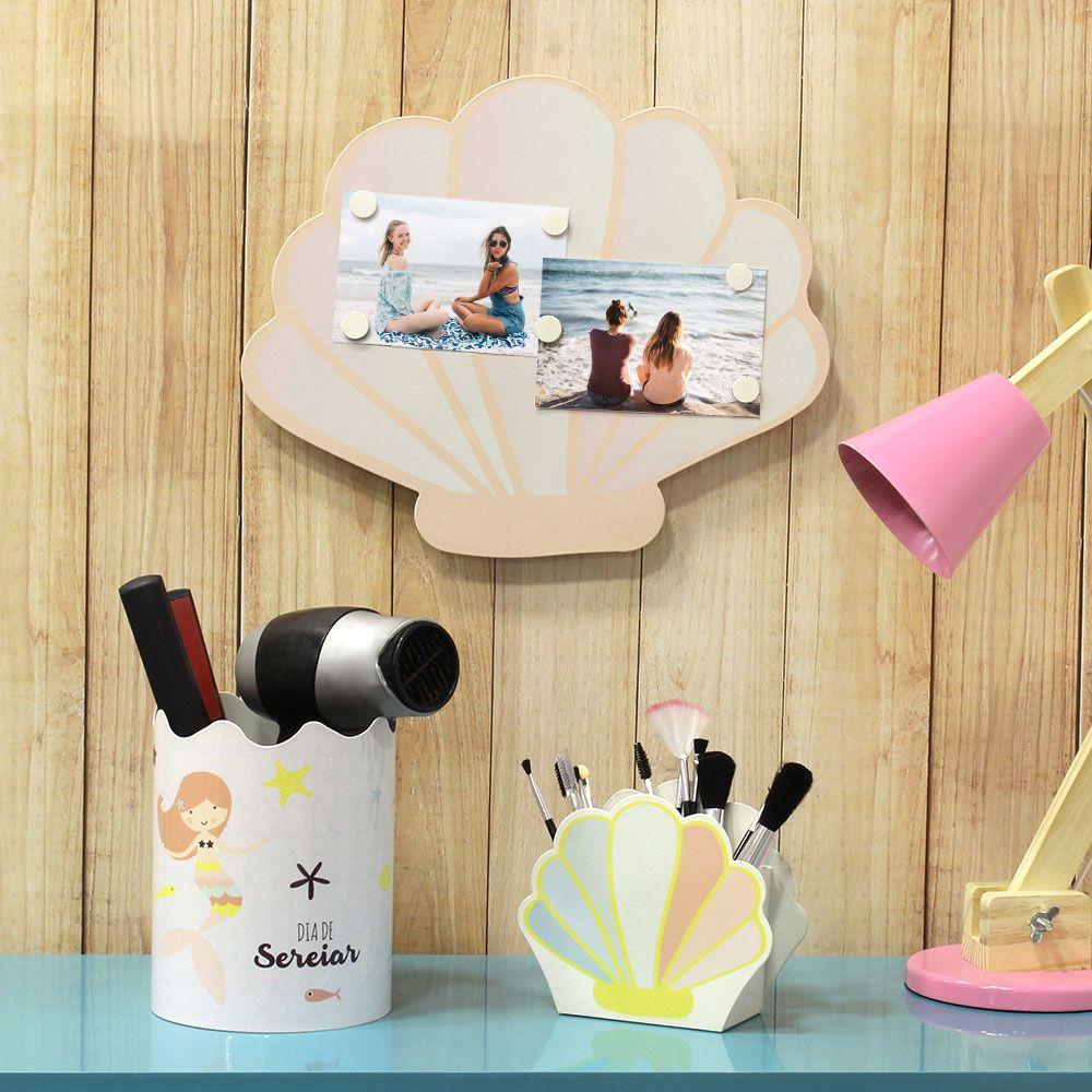 Organizador Porta Maquiagem Display Pincéis Concha