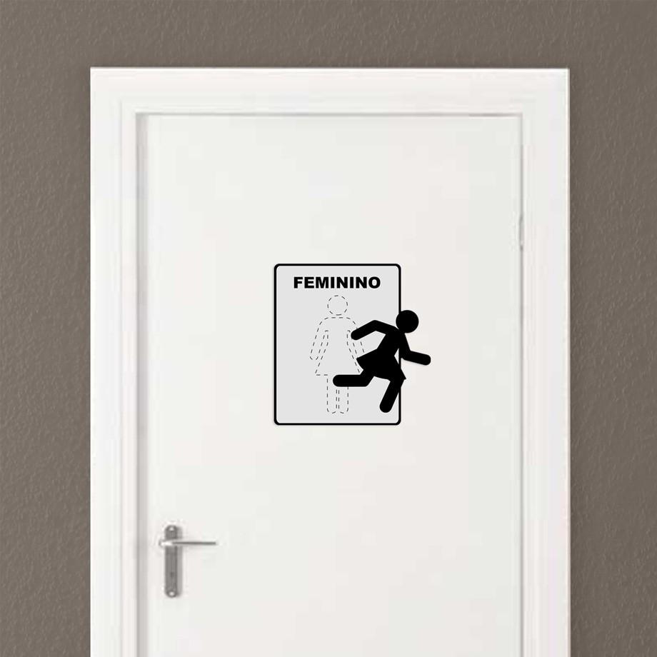 Placa de Metal Sinalização Toilette Feminino
