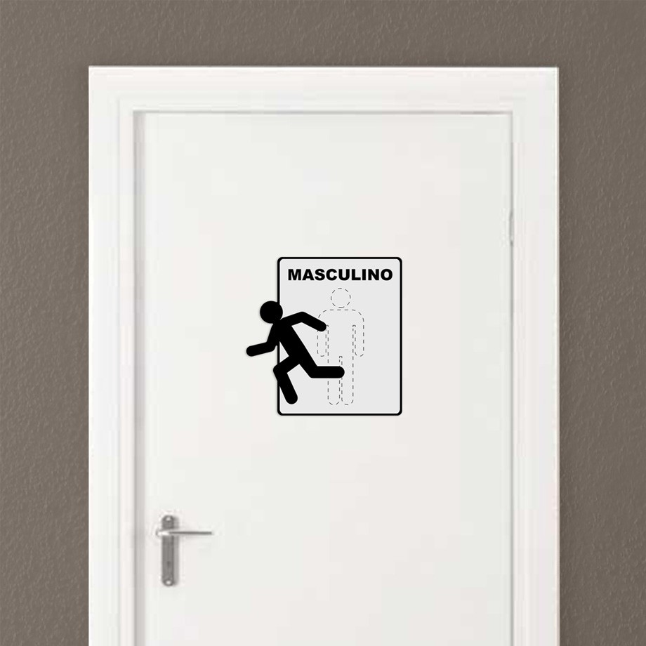 Placa de Metal Sinalização Toilette Masculino