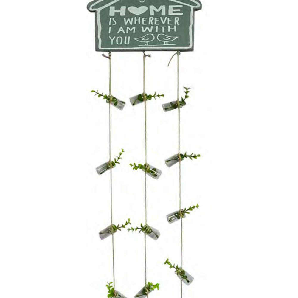 Placa Decorativa com Mini Vasos com Flores e Cordas - Home