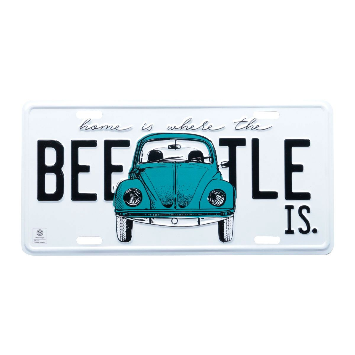 Placa Decorativa de Alumínio Beetle Fusca Azul Volkswagen