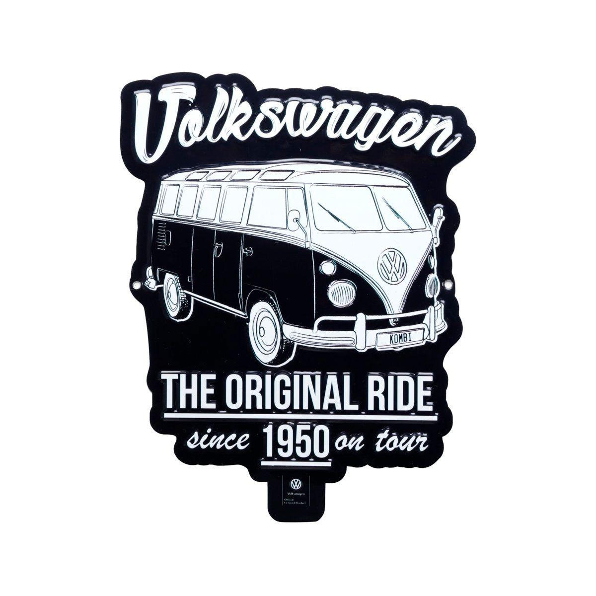 Placa Decorativa de Alumínio Recorte Kombi Preta Volkswagen