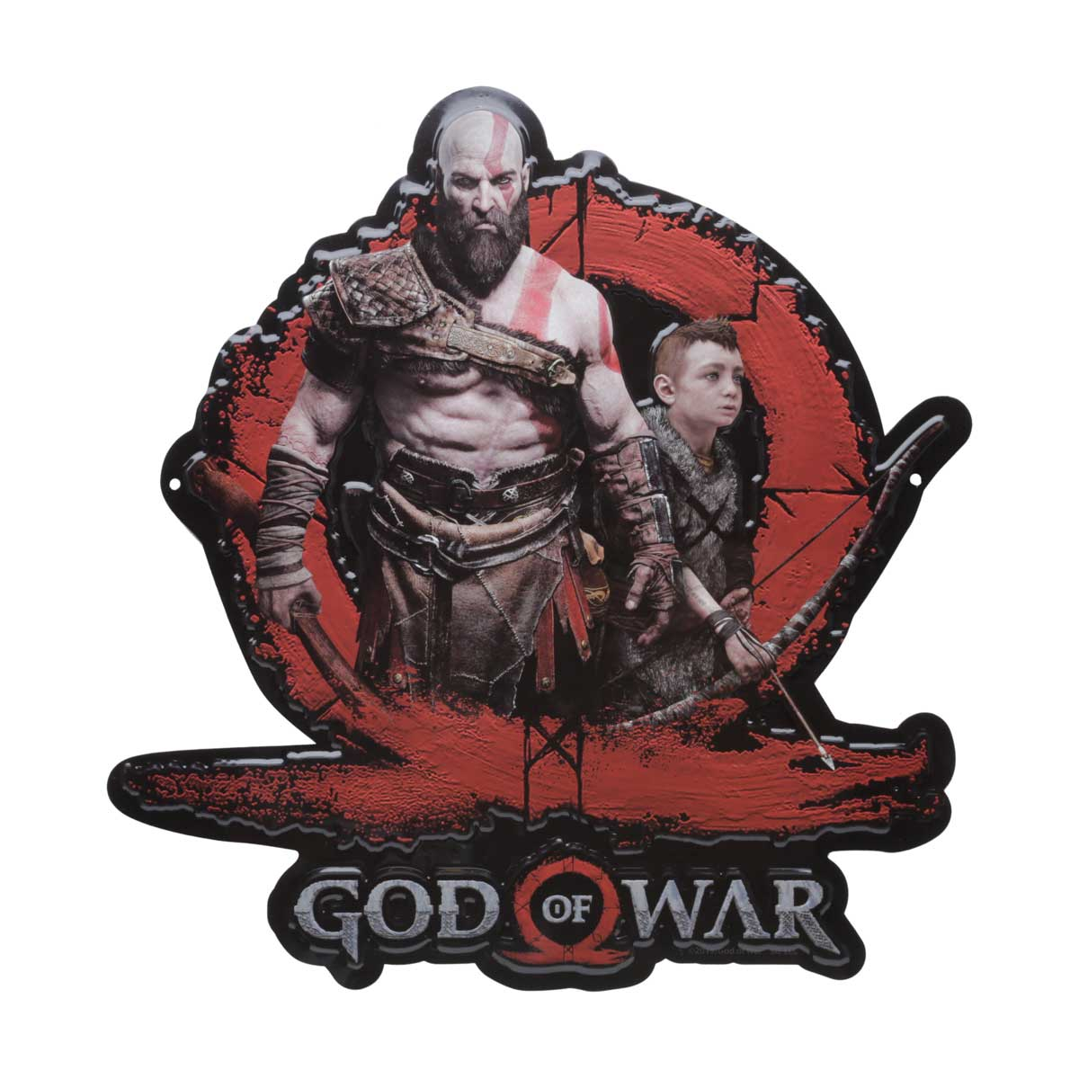 Placa Decorativa de Alumínio Recorte Kratos e Atreus God Of War