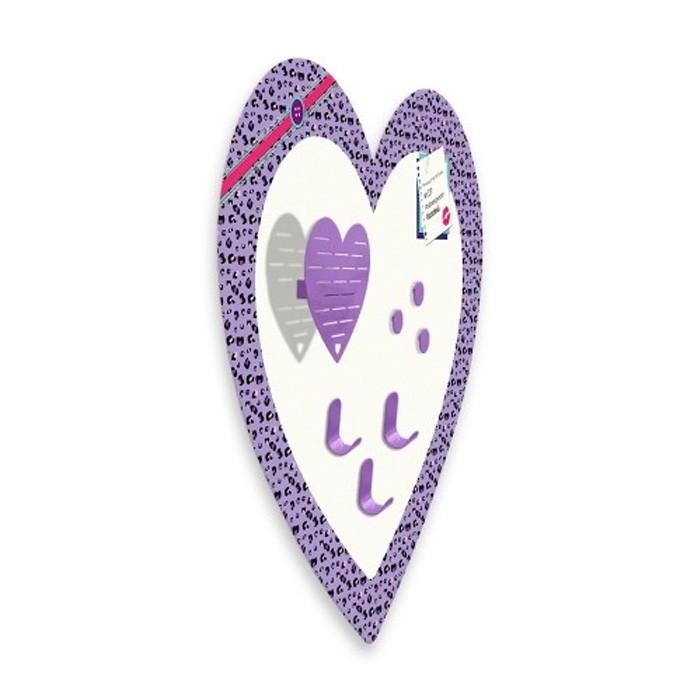 Placa Mural  de Lembretes Bijoux Coração Com Gancho e Porta Jóias