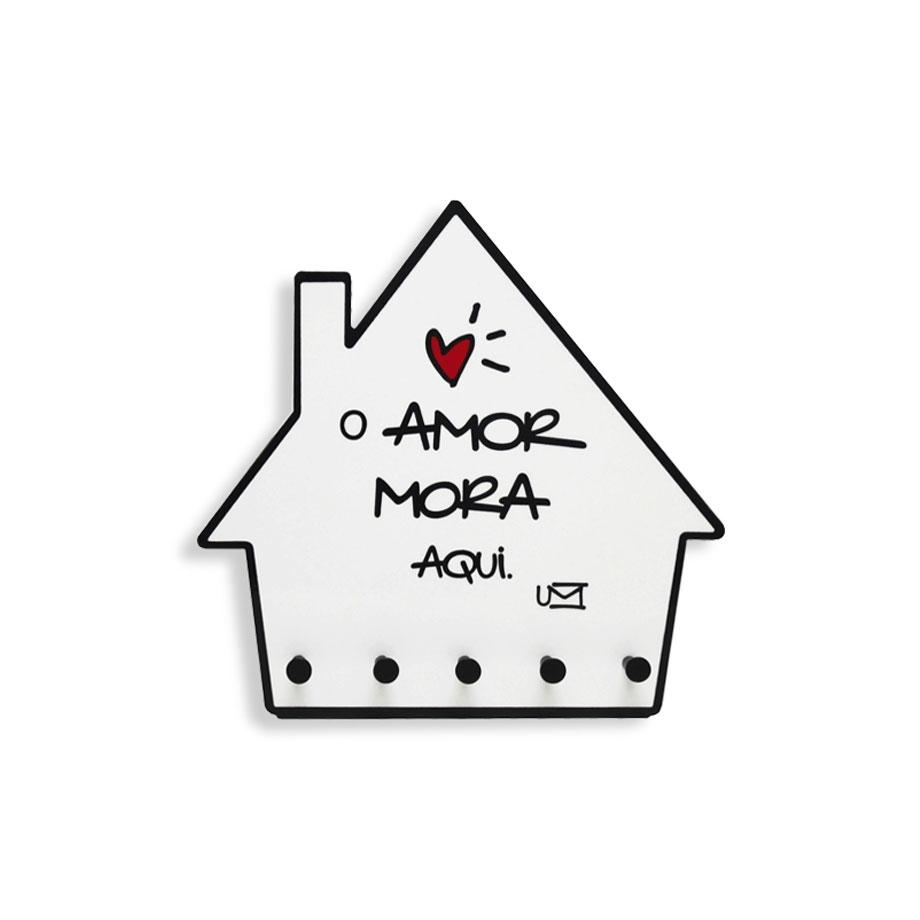 porta chaves e cartas casa o amor mora aqui presente super loja de presentes criativos e. Black Bedroom Furniture Sets. Home Design Ideas