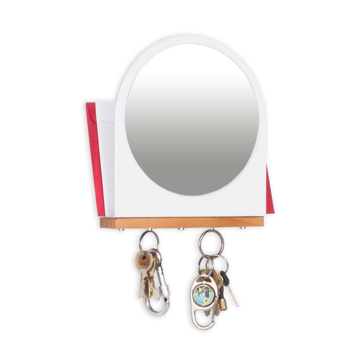 Porta Chaves e Cartas com Imã Espelho Branco