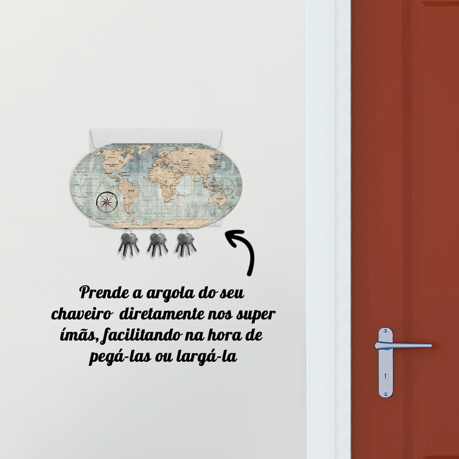 Porta Chaves Mapa Mundi Vintage