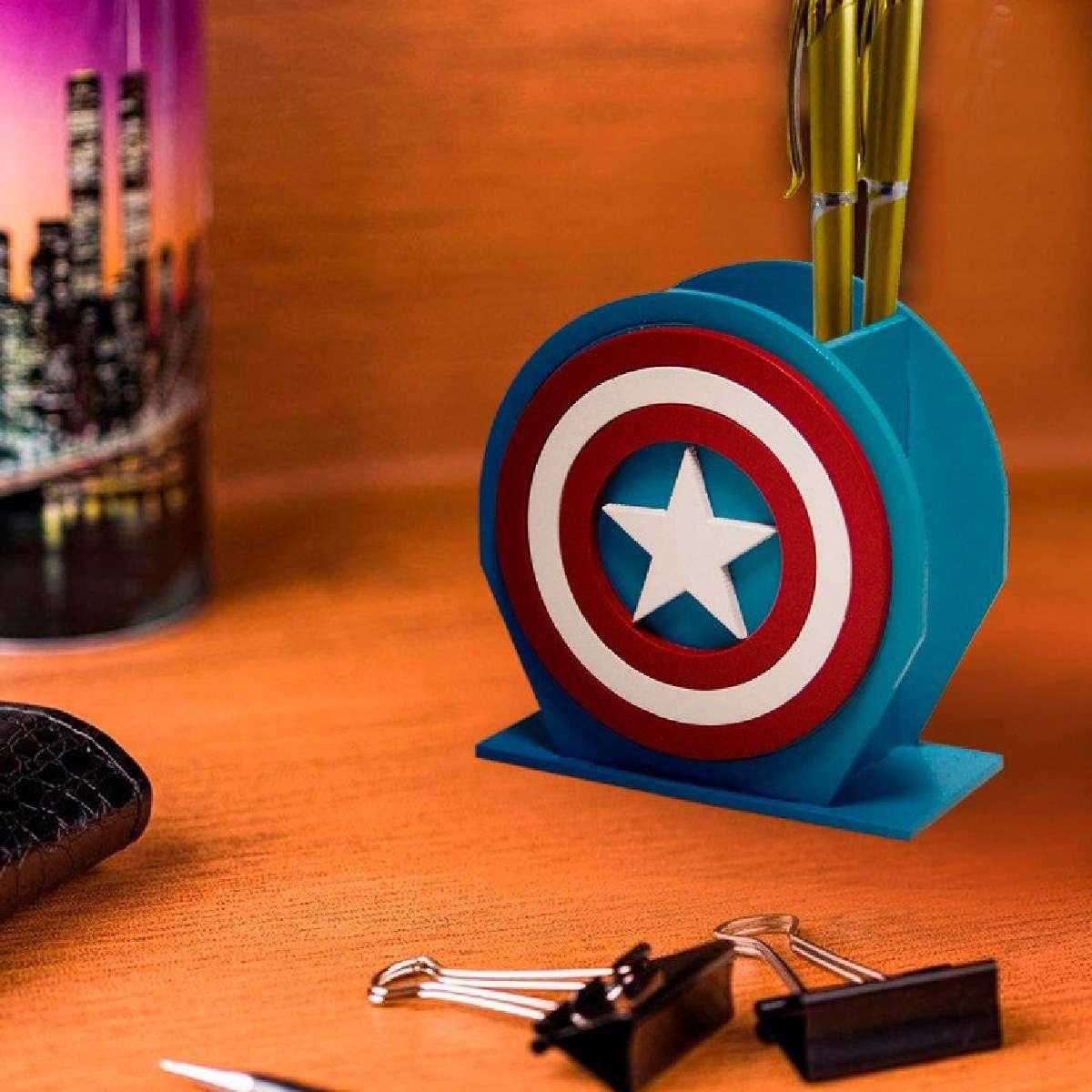 Porta Lápis e Caneta organizador Capitão América