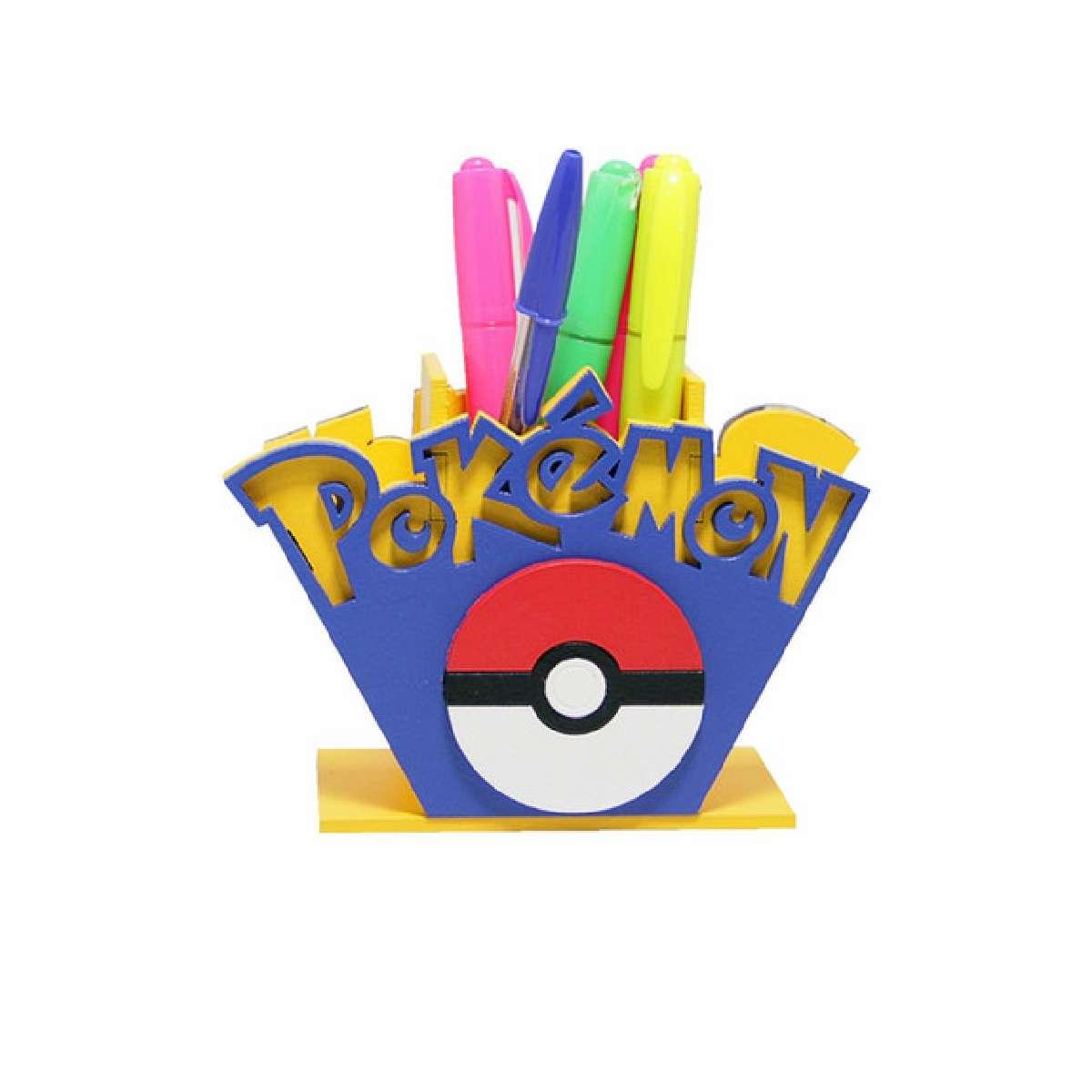 Porta Lápis e Caneta Pokemon