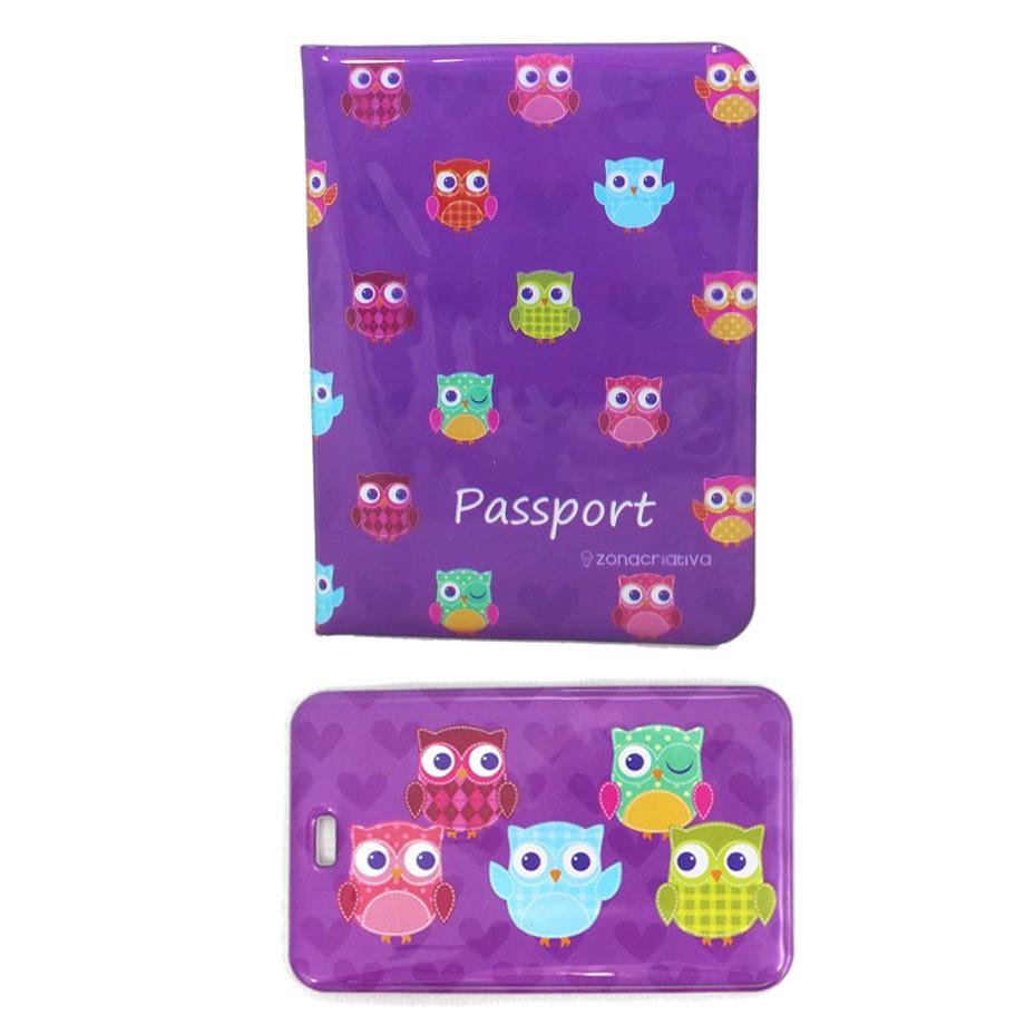 Porta Passaporte e Tag de Mala - Corujas