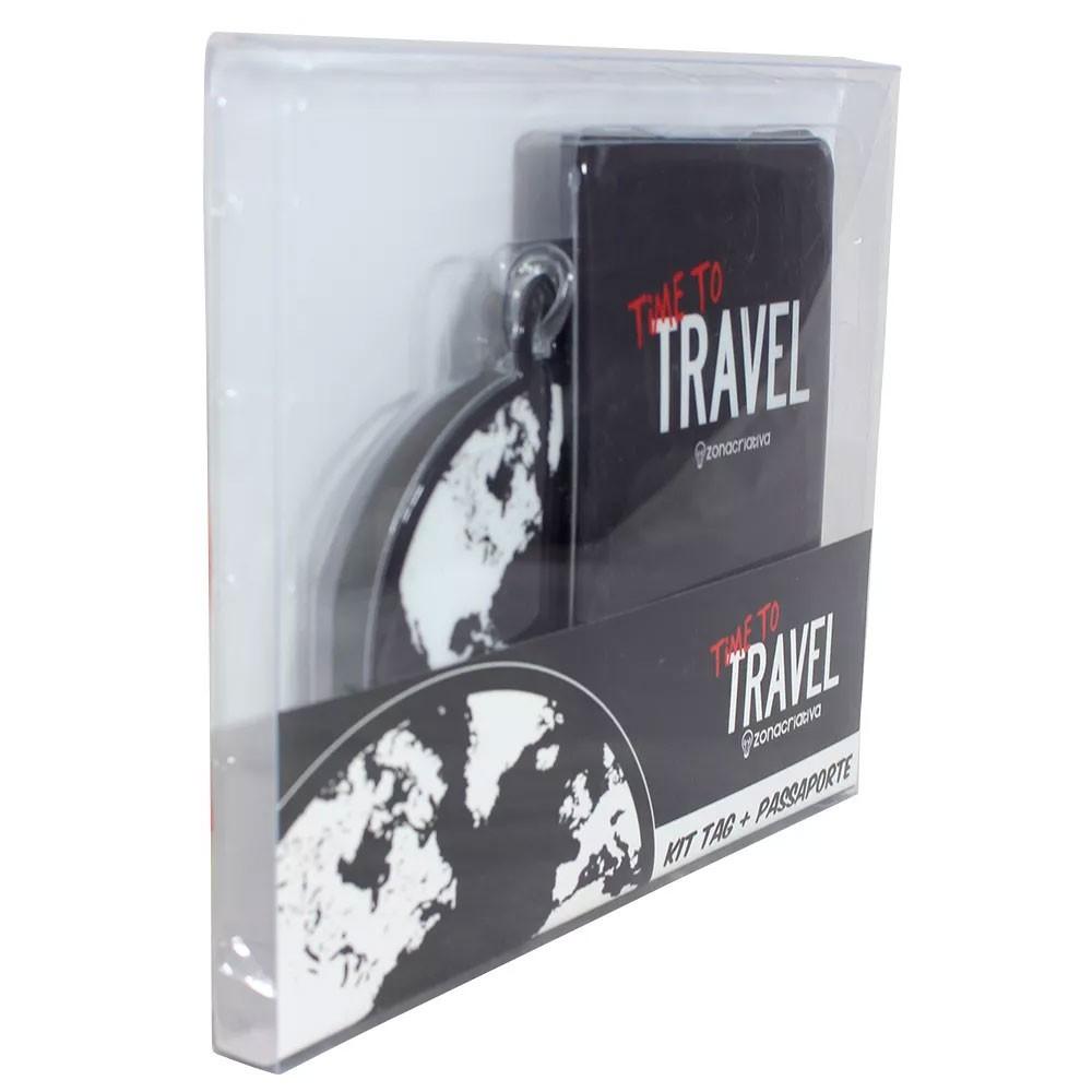 Porta Passaporte e Tag de Mala - Time to Travel