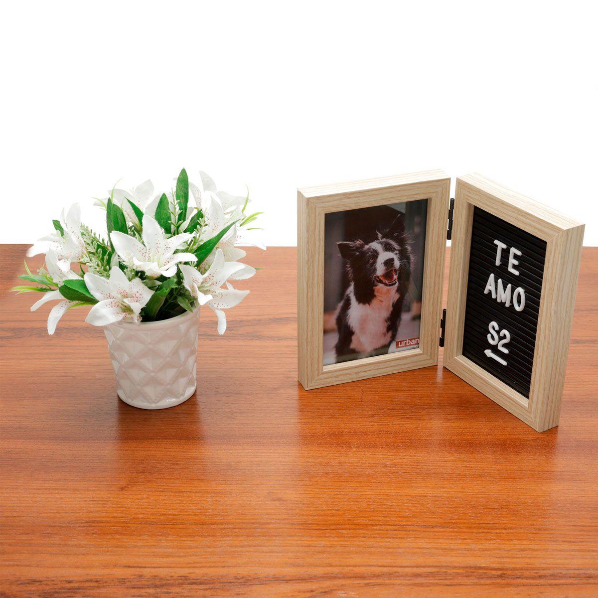 Porta Retrato 10x15 com Quadro Letreiro Prata
