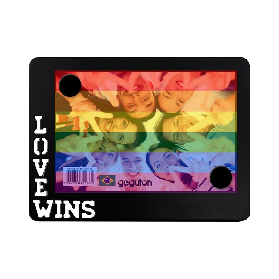 Porta Retrato de Metal Love Wins com Filtro Colorido