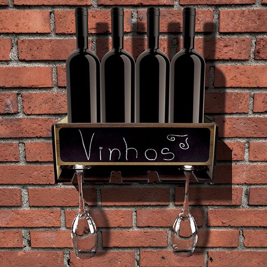 Prateleira para 4 Garrafas e Taças de Vinho Lousa
