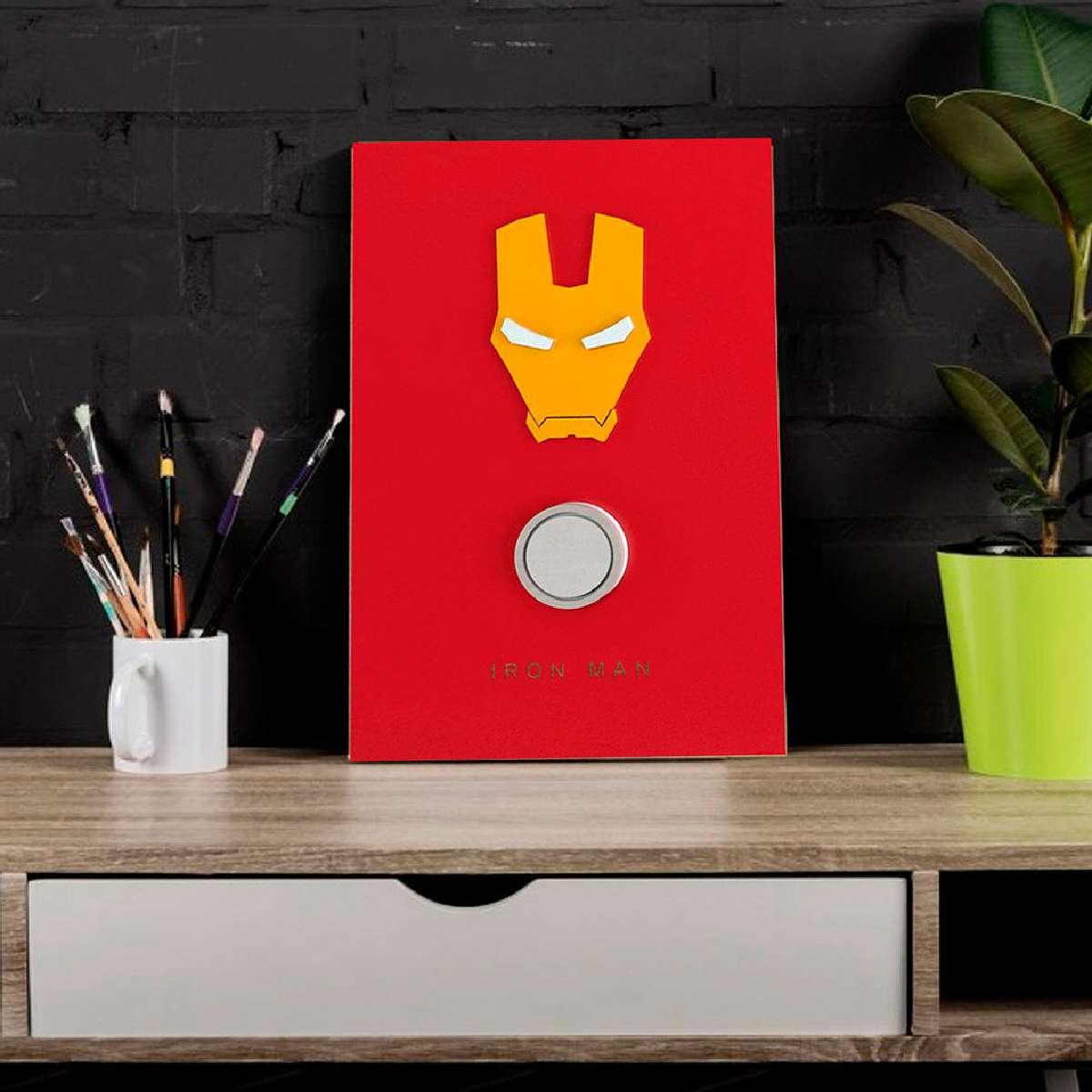 Quadro 3D Decorativo Homem de Ferro Vingadores Marvel
