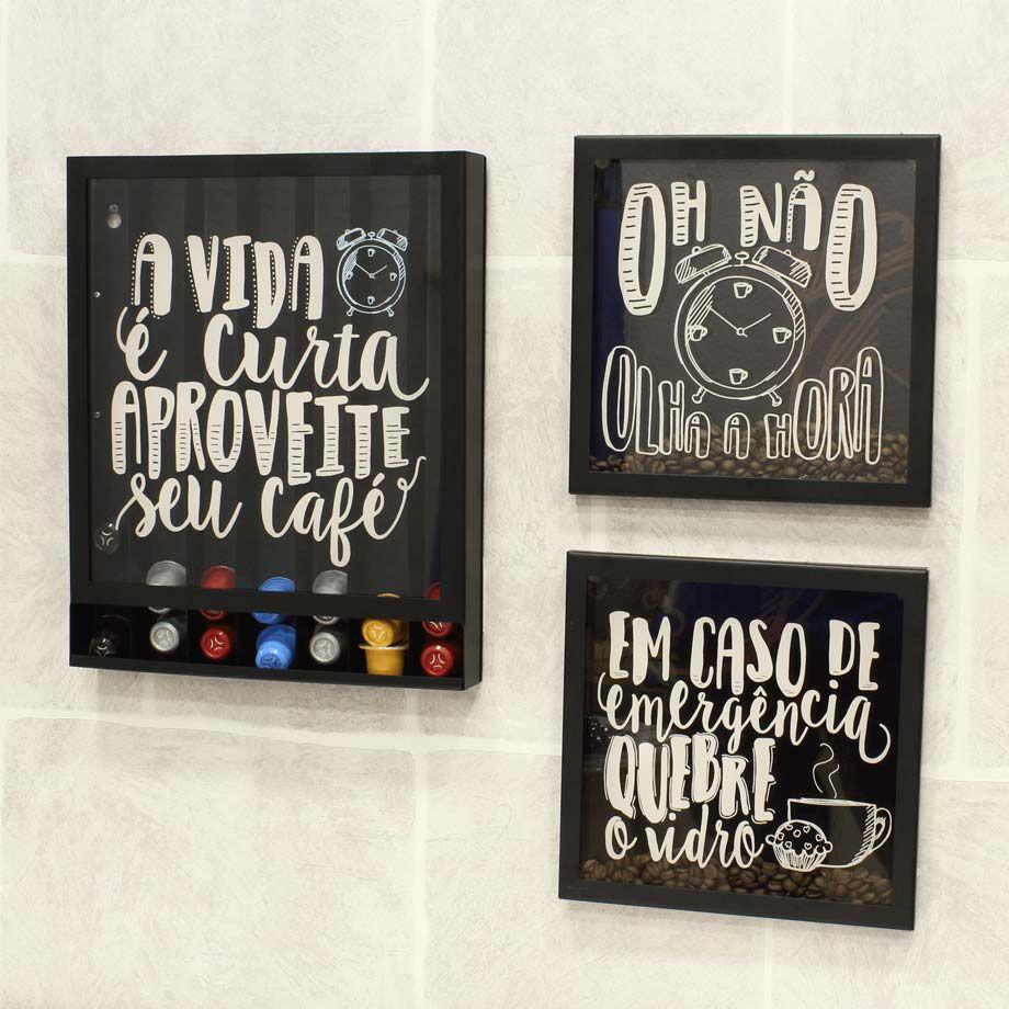 Quadro Grão Café Olha a Hora