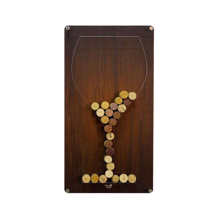 Quadro Porta Rolha Taça de Vinho Silhueta Bar