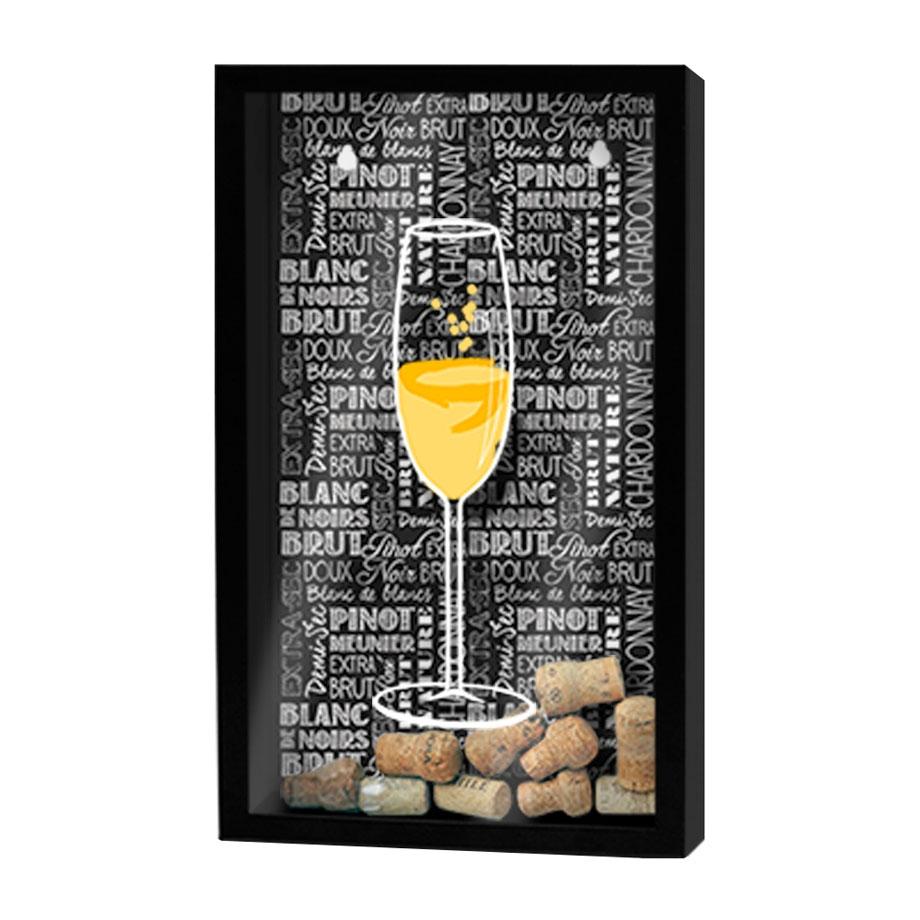 Quadro Porta Rolhas Taça de Champagne