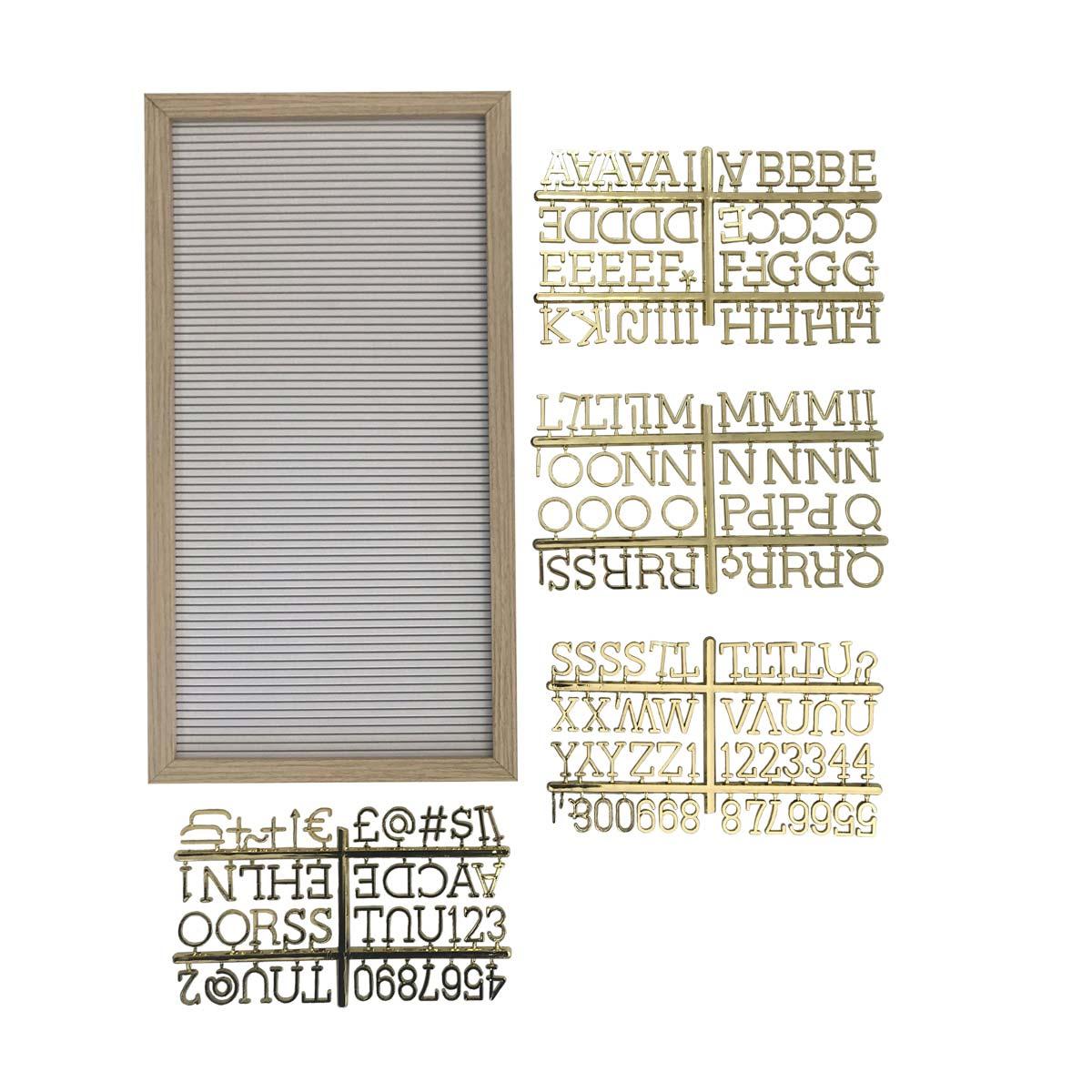 Quadro Retangular Alfabeto Letreiro Dourado 50x25cm