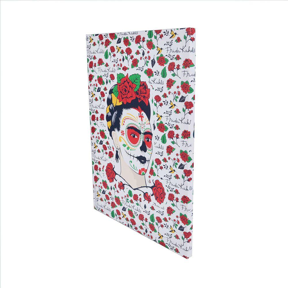 Quadro Tela Frida Kahlo Face Flowers