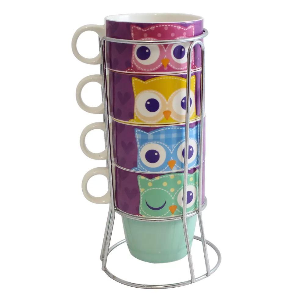 Torre de Canecas Corujas Coloridas
