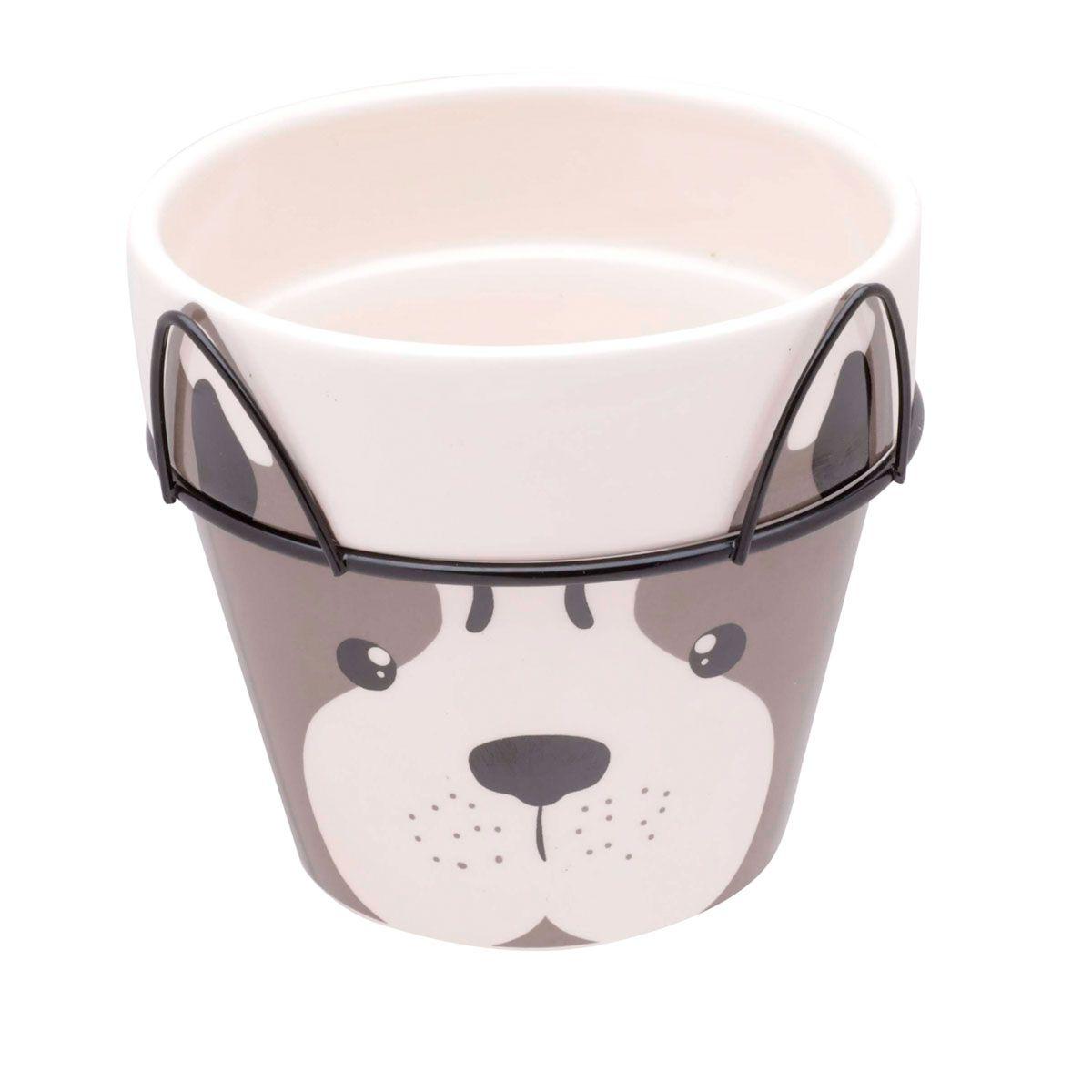 Vaso Cerâmica Decorativo Dog Face com Suporte