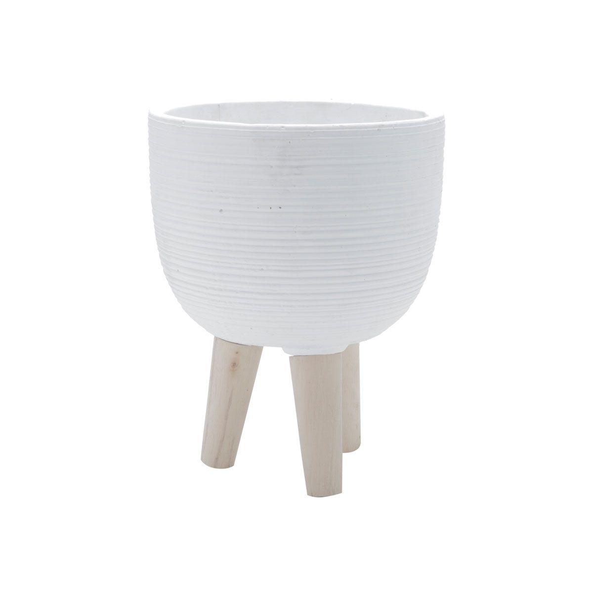 Vaso Concreto Decorativo Branco com Pé Madeira