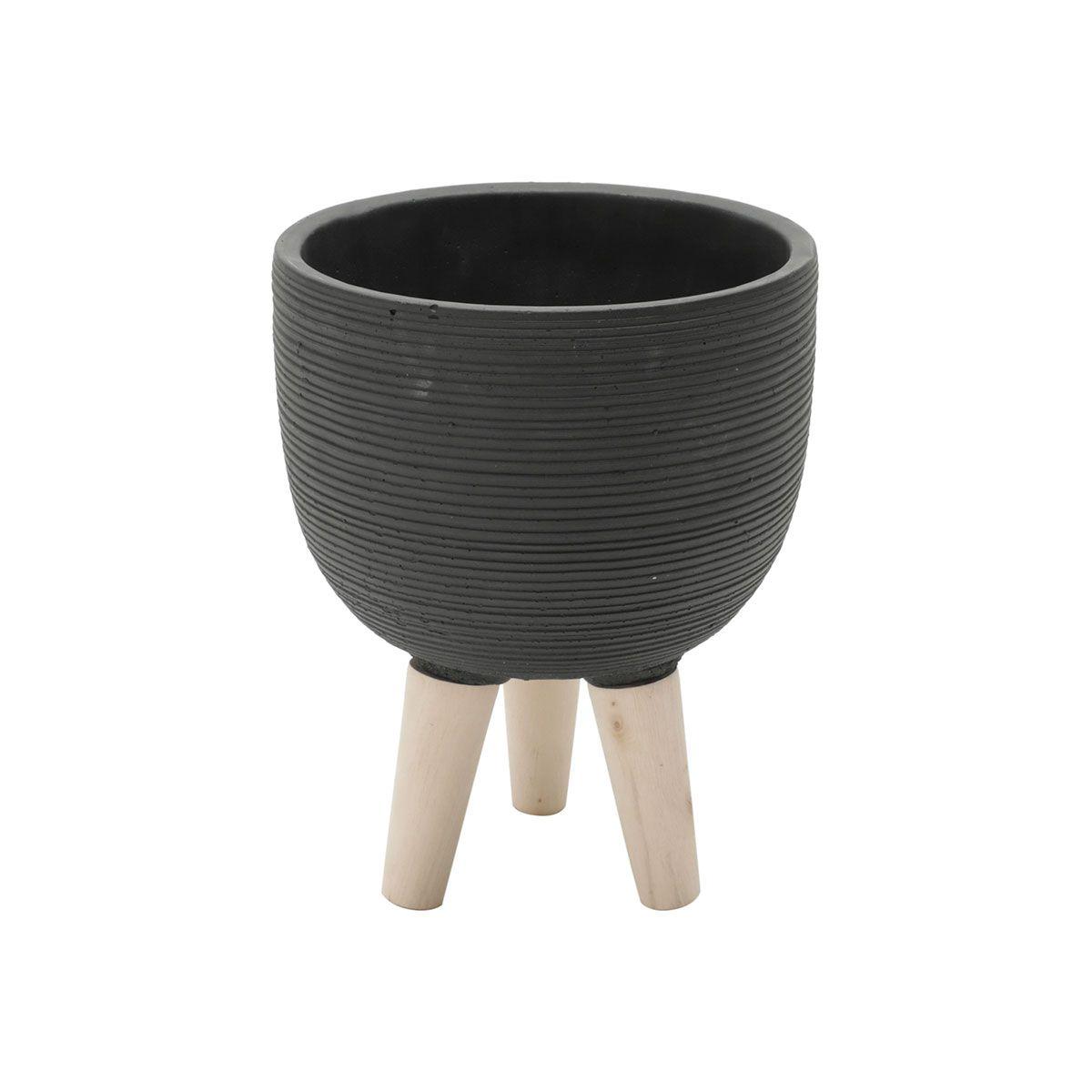 Vaso Concreto Decorativo Preto com Pé Madeira