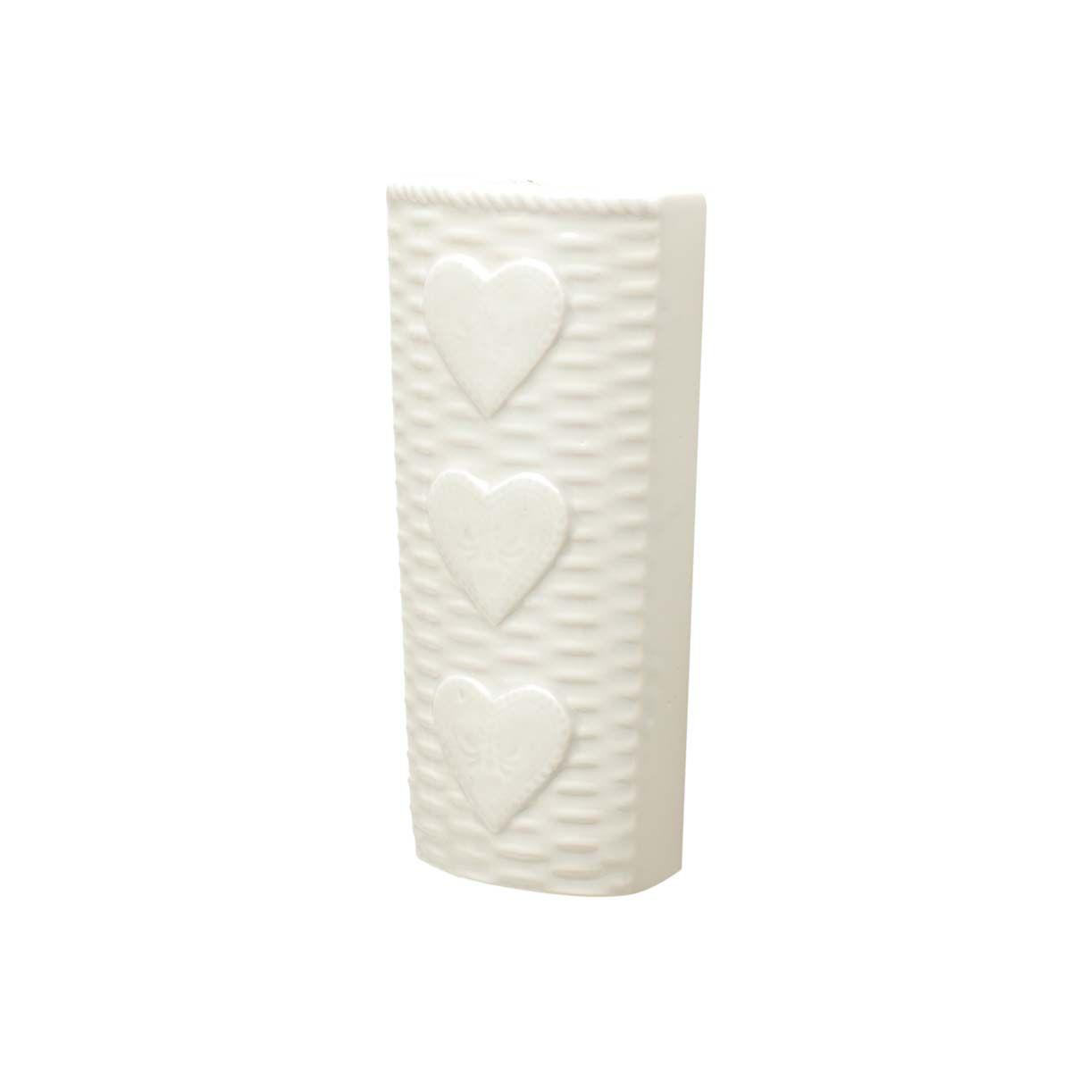 Vaso de Parede Cerâmica Decorativo Coração Bege