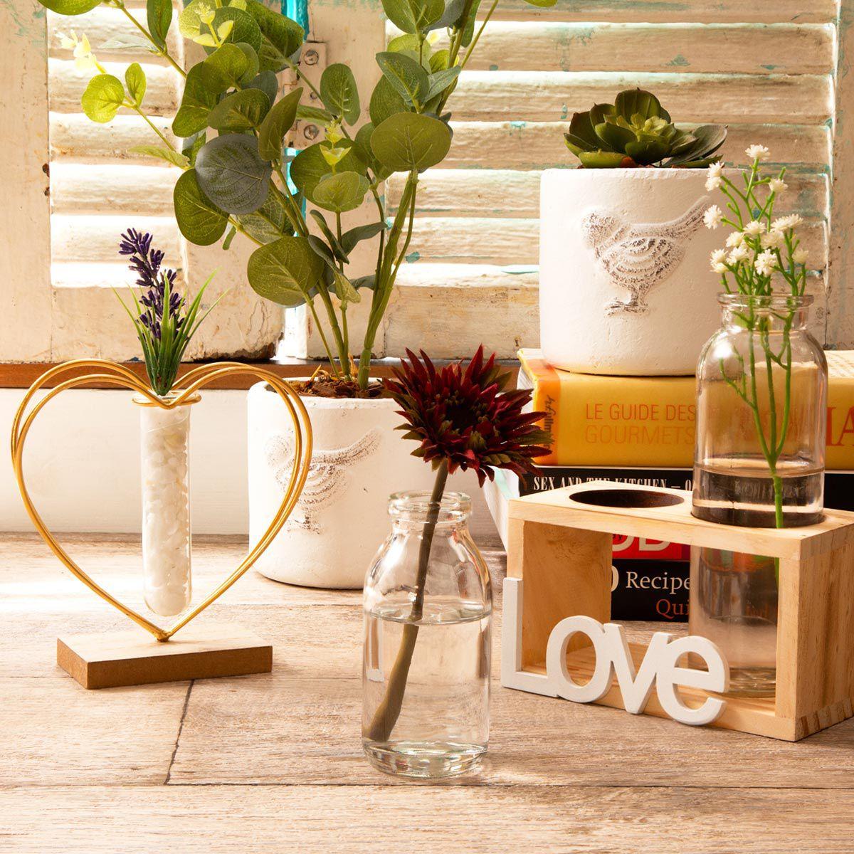 Vaso Decorativo Madeira e Vidro Duas Garrafas Love