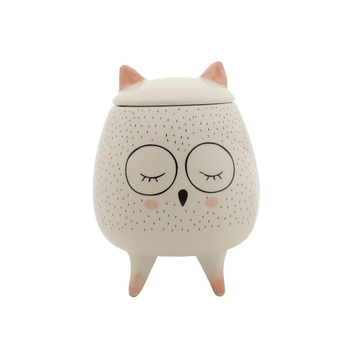 Vaso Potiche Decorativo Cerâmica Coruja Sleeping Owl