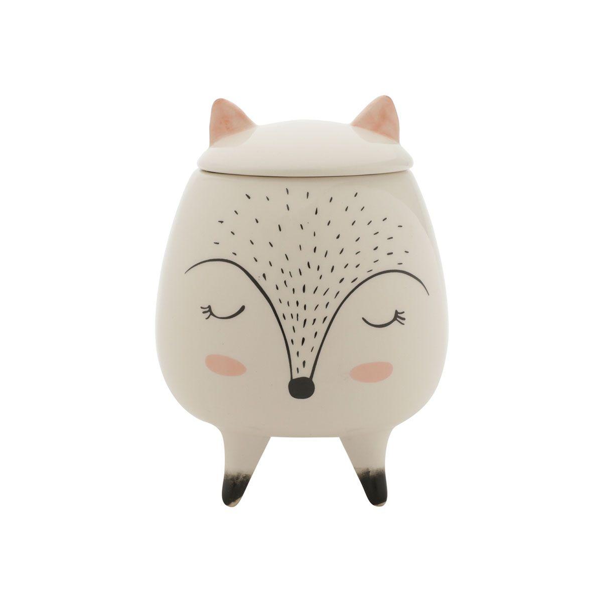 Vaso Potiche Decorativo Cerâmica Raposa Sleeping Fox