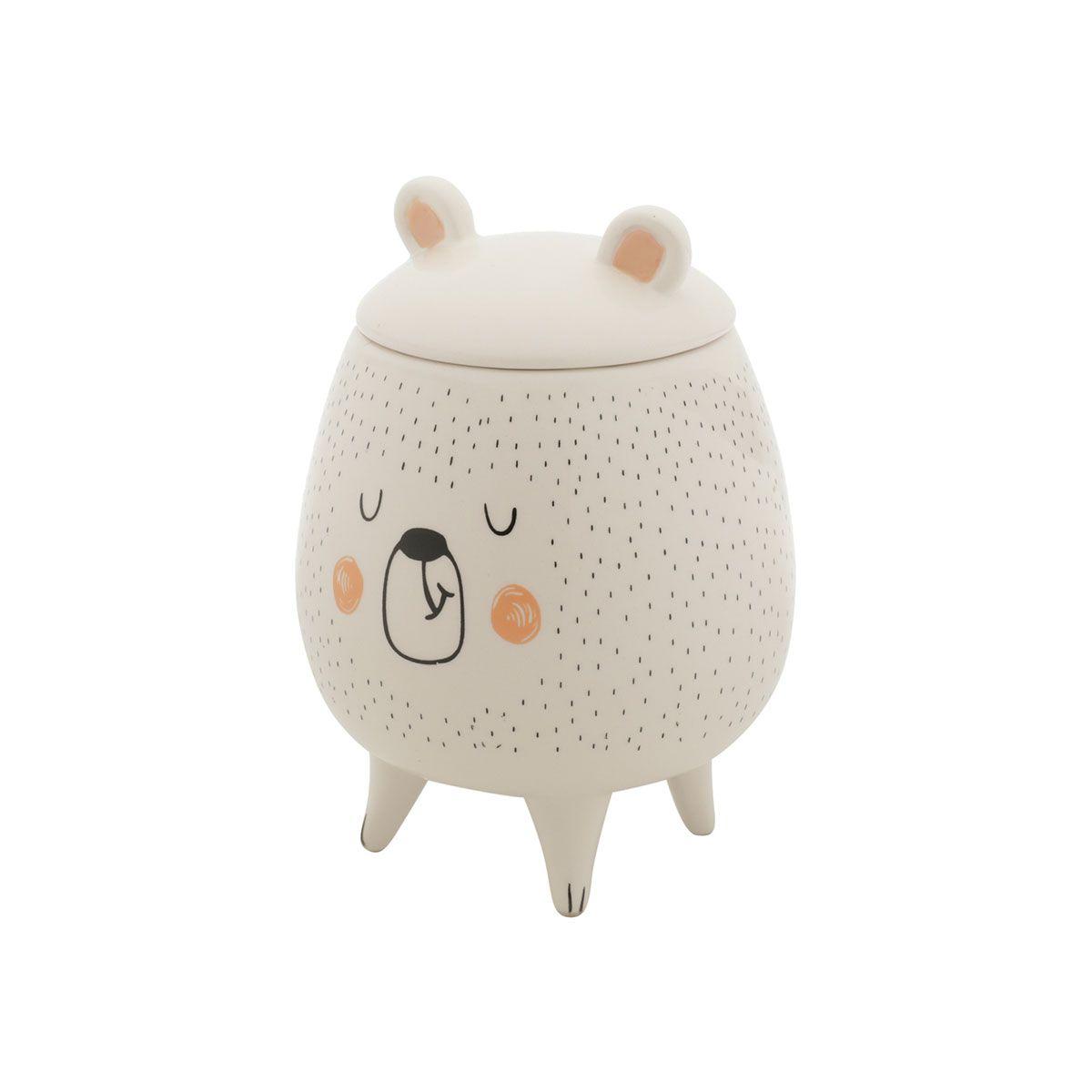 Vaso Potiche Decorativo Cerâmica Urso Sleeping Bear