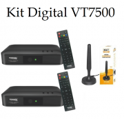 Kit Digital 2 Conversores Visiontec VT7500 + 1 Antena Interna