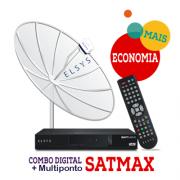 Kit Receptor SatMax + Parabólica 1,90 Multiponto + Cabo