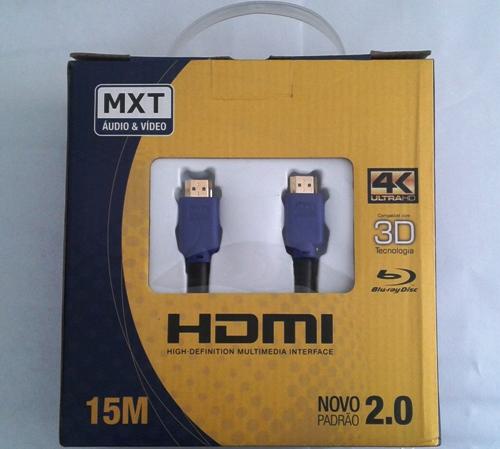 Cabo MXT Hdmi 4K Ultra Hd com Filtro 26AWG Dourado 15 Metros