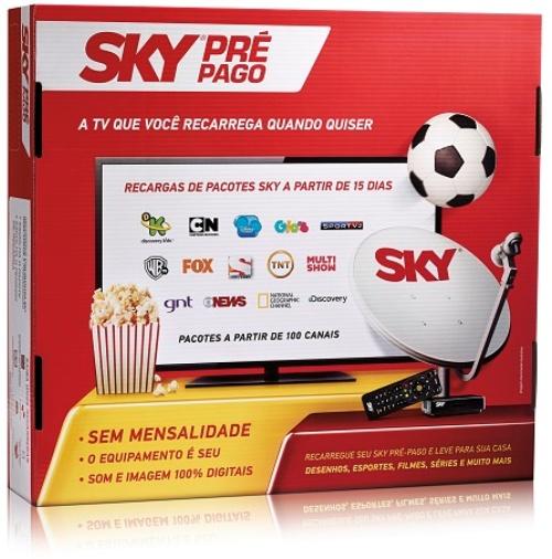 Kit Antena Parabólica e Receptor Sky Pré Pago Flex.