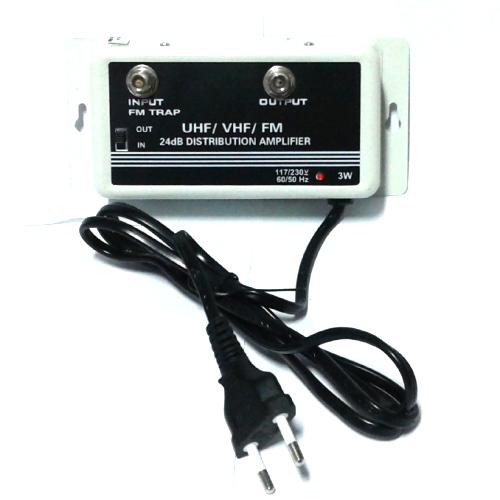 Amplificador Sinal 24 db Tv Hdtv Lcd Plasma Catv Uhf Vhf