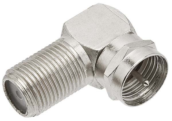 Adaptador Plug F Macho Rosca X Coaxial Plug F Fêmea  90º 100 unidades