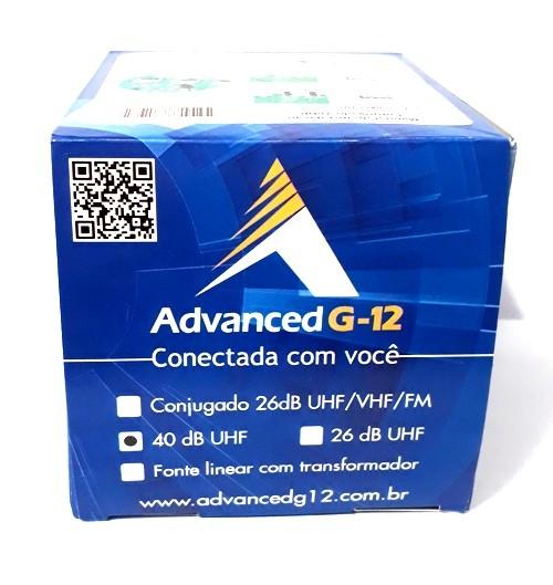 Booster Amplificador de Linha 40dB VHF/UHF/CATV